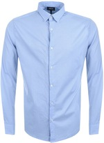 Giorgio Armani Jeans Slim Fit Dot Stretch Shirt Blue
