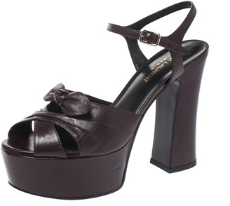 Saint Laurent Paris Burgundy Leather Candy Ankle Strap Platform Sandals Size 38