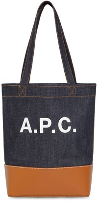 A.P.C. Sm Logo Printed Denim & Leather Tote Bag