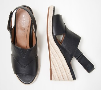 Vionic Leather Back-Strap Espadrille Wedges - Zamar