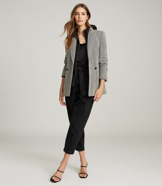 Reiss TAITE HERRINGBONE TAILORED BLAZER Black/white