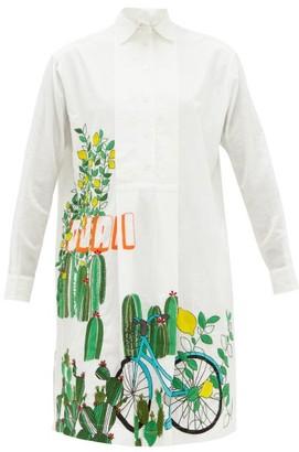 Kilometre Paris - Ojai, Ventura Embroidered Cotton Shirt Dress - White Multi