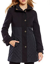 Anne Klein Snap Front Mix Media Quilted Jacket
