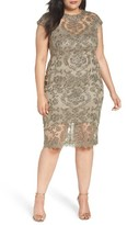 Tadashi Shoji Plus Size Women's Illusion Embroidered Sheath Dress