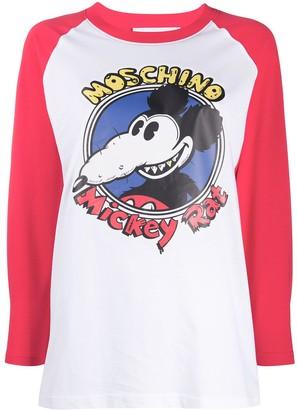 Moschino Mickey Rat print long sleeve T-shirt