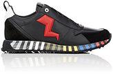 Fendi Men's Appliquéd Leather & Suede Sneakers-BLACK
