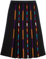 Etro stripe detail pleated skirt