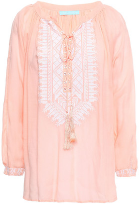 Melissa Odabash Simona Lace-up Embroidered Voile Blouse