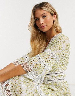 Forever U mini dress in contrast broderie in lime
