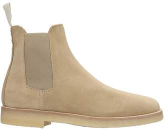 Common Projects Chelsea Boot High Heels Ankle Boots In Beige Suede