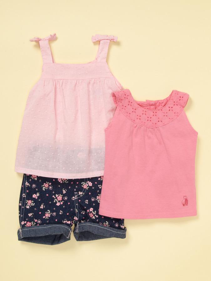Pink 3 Piece Short Set
