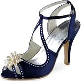 ElegantPark EP11058 Women Sandals Peep Toe Pearls Cross Strap High Heel Satin Wedding Bridal Shoes US 8