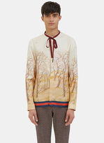 Gucci Men's Scenic Print Silk Shirt In Ivory