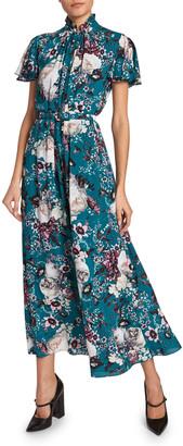 Erdem Gracelyn Flutter-Sleeve Floral Silk Dress