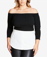 City Chic Trendy Plus Size Layered-Look Top