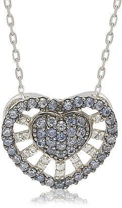Suzy Levian Sterling Silver Pave Mixed Sapphire & Brown Diamond Accent Heart Pendant Necklace