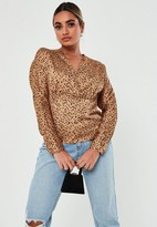 Missguided Petite Gold Spot Detail Long Sleeve Plunge Blouse