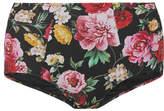 Dolce & Gabbana High-rise Floral-print Bikini Briefs - Black