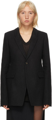 Rick Owens Black Wool Flannel Soft Blazer