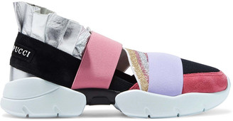 Emilio Pucci City Up Metallic-leather, Suede And Neoprene Slip-on Sneakers