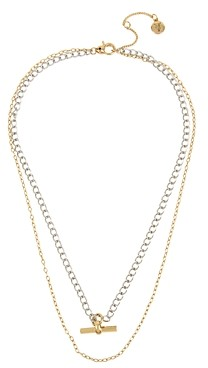 AllSaints Two-Tone Layered Bar Necklace, 16-18