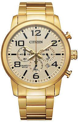 Citizen Quartz Mens Chronograph Gold Tone Stainless Steel Bracelet Watch-An8052-55p Family