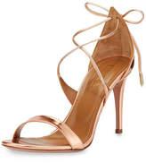 Aquazzura Linda Metallic Leather 75mm Sandal, Rose Gold