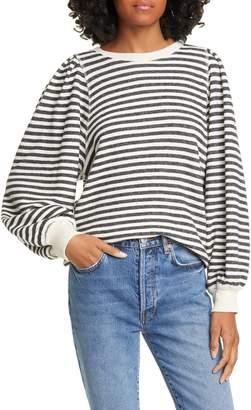 The Great The Pleat Sleeve Stripe Cotton Sweatshirt