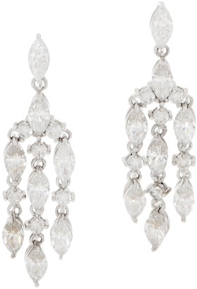 Diamonique Marquise and Round Dangle Earrings, Sterling Silver