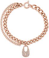 Michael Kors Double Chain Pavé Crystal Lock Charm Bracelet