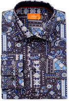 Tallia Men's Fitted Blue Patchwork-Print Dress Shirt