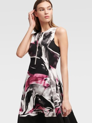 DKNY Women's Leaf Print Fit-and-flare Dress - Multi - Size 00