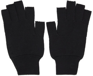 Rick Owens Black Merinois Fingerless Gloves