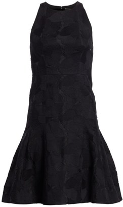 Halston Floral Jacquard Sleeveless Flounce Dress