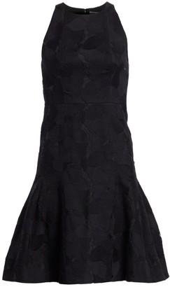 Halston Floral Jacquard Sleeveless Flounce Dress