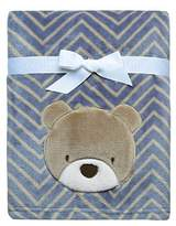 Baby Starters Printed Soft Plush Blanket with Bear Applique and Embroidery, Blue/Brown by