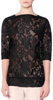 Tomas Maier 3/4-Sleeve Tech-Lace Top, Black