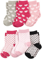 Luvable Friends Pink & Gray Hearts & Dots 6-Pair Socks Set