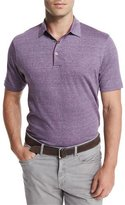 Peter Millar Needle-Stripe Linen-Blend Polo Shirt, Purple
