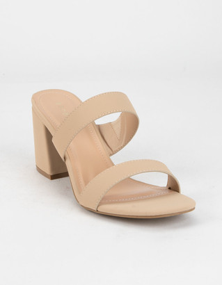 Bamboo Two Band Womens Nude Heels