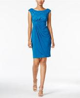 Connected Sequin Lace Faux-Wrap Dress