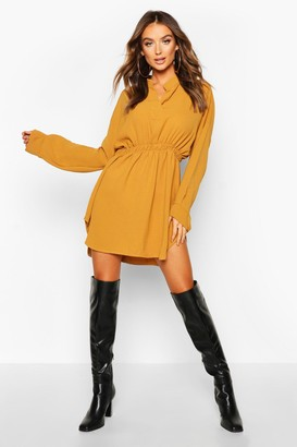 boohoo Woven Shirred Waist Shirt Dress