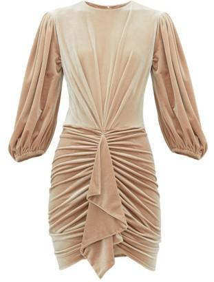 Alexandre Vauthier Ruched Velvet Mini Dress - Beige