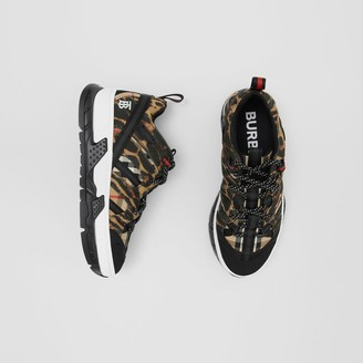 Burberry Leopard Print Neoprene and Cotton Union Sneakers