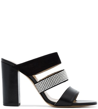 Kalda Black Rhinestone Thelma 95 Leather Mules