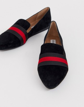 Steve Madden Nema black suede flat shoes with contrast ribbon-Multi