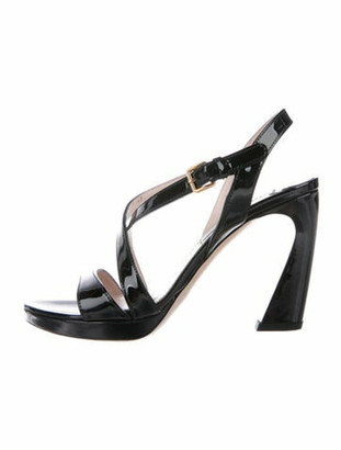 Miu Miu Patent Leather Slingback Sandals Black