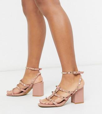 ASOS DESIGN Wide Fit Haiti studded blocked heeled sandals in beige