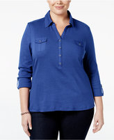 Karen Scott Plus Size Roll-Tab Polo Top, Only at Macy's