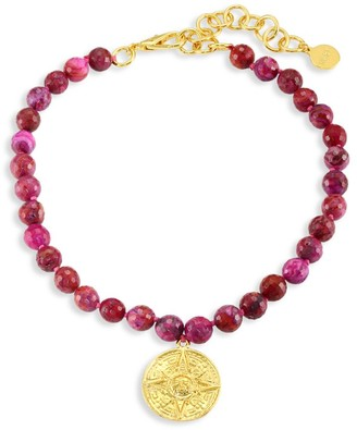Nest 22K Yellow Goldplated & Magenta Agate Beaded Choker Necklace